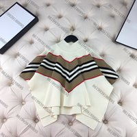 DeiSgner Kinder Pullover Mädchen Weiße Pullover V-Stil Braune Kleidung Langarm Baumwolle Prinzessin Tragens Größe 100-150