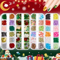 12Grids 크리스마스 홀로그램 손톱 조각 DIY 네일 아트 눈송이 트리 별 반짝이 플레이크 혼합 스타일 반짝 공예품 장식
