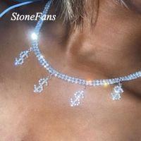 Designer Necklace Luxury Jewelry Stonefans Statement Dollar Sign Rhinestone Choker for Women Hip Hop Money Tennis Chain Pendant Crystal