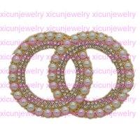 C 편지 빈티지 크리스탈 럭셔리 브로치 진주 디자이너 편지 브로치 라인 석 핀 선물 결혼식을위한 패션 핀