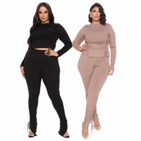 Autumn Winter Two-piece drawstring Tracksuits solid color long-sleeved Women Wide Leg Pants Suit
