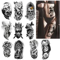 Cool Big Size Temporary Tattoo Stickers Fake Tattoos Waterproof Halloween Skull Removable Sticker Body Art Dark Realistic Roses Semi-permanent Makeup for Women Men