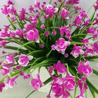 Bunch(1 Bunch=21Head) Artificial Flowers With Leaf Wedding Decoration Simulation Phalaenopsis Flower Home Decor Decorative & Wreaths
