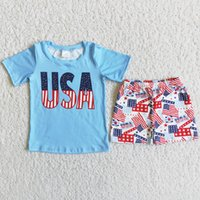 RTS Wholesale Designer Clothes Kids Sets Boys Clothing Outfits Summer 4th of July Fashion Toddler Baby Boy Outfit Boutique USA Print National Flag Shorts