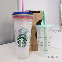 5pcs 24OZ 710ml Starbucks Snow Plastic Tumbler Reusable Clear Drinking Flat Bottom Cup Pillar Shape Lid Straw Mug Bardian