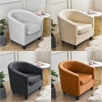 Chair Covers 1Set Tub Sofa Cover Velvet Club Small Round Slipcovers For Living Room Couch With Seat Cushion