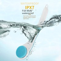 Electric Bath Brushes Waterproof Silicone Body Brush with 5 Spin Heads Waterproof Silicone Shower Brush for Facial Scrubber Exfoliating SPA Back Long Handle