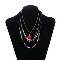 النساء متعدد الطبقات مطرز القلائد أزياء البوهيمي العرقية نمط اليدوية الشرابة قلادة قلادة الفتيات مجوهرات هدية