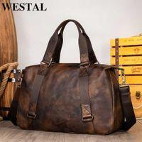 Travel Duffel Bag For WESTAL Men Large Capacity Genuine Leather Men Travel Bags Carry On Luggage Bag Man Vintage Overnight 1149