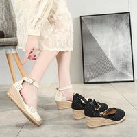 Sandals Women's Espadrilles Wedge 2021 Skirt Hollow Single Shoes Fashion Pointed High Heels Thick Bottom Straw
