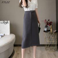 FTLZZ New Women Single Button High Waist Medium Skirts Casual Female Solid Midi Pencil Skirts Spring Summer OL Ladies Skirt X0428