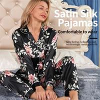 Pijama Uzun Kadınlar Kış Pijama Kol Seti Mujer Pijamas Nuisette Sexy Lingerie Gecelikler İpek Saten Pyjam