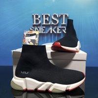 En Kaliteli Çiftler Erkekler Moda Tasarımcılar Ayakkabı Bayan Hız 2.0 Sneakers Erkek Kadın Üçlü S Siyah Açık Platformu Çorap Rahat Trainer Sneaker