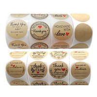500 pcs roll Round Thank you Labels kraft paper Love stickers 1.5 inch Packing baking take-out decorative gift custom seal sticker