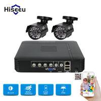 Hiseeu HD 4CH 1080N 5in1 AHD DVR Kit CCTV System 2pcs 720P Waterproof dome IR Camera P2P Security Surveillance Set Systems