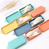 Conjunto de talheres de dobramento de faca removível garfo colher chopsticks Creative trigo palha portátil ferramenta de piquenique BWC7365