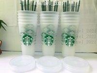 Starbucks 24oz 710ml Plastic Tumbler Reusable Clear Drinking Flat Bottom Cups Pillar Shape Lid Straw Mug Bardian 10pcs
