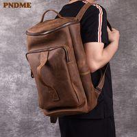 PNDME vintage genuine leather men's backpack simple crazy horse cowhide designer large capacity travel bagpack luxury bookbags 201116