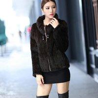 Pelliccia femminile Faux European Big Plus Size Made China Factory PREZZO PREZZO DONNA Giacca di visone a maglia con colletto moda reale cappotto per l'inverno