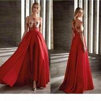 2020 robes de soirée de bal rouges avec jupe détachable Jumpsuit de la mode Jumpsuit à moitié manches à manches longues robe de cocktail sur mesure