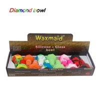 Ciotola di vetro in silicone a forma di diamante all'ingrosso di Waxmaid per fumare Bongs Abiti 14mm 18mm Joints sei colori con un contenitore di regalo Pacchetto nave dal magazzino locale degli Stati Uniti