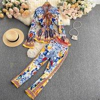 활주로 패션 우아한 빈티지 프린트 바지 정장 러프 블라우스 셔츠 탑과 긴 바지 두 조각 세트 여성들이 여성을 설정합니다