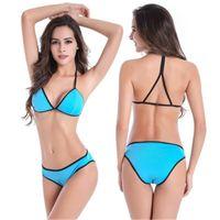 Wholesale Womens Solid Colors Bikini Swimwear Fashion Sexy Back Bras Briefs Split Swimsuits Female Summer Cross Shoulder Straps Beach Sets
