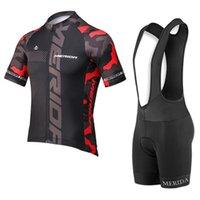 새로운 팀 Merida 사이클링 의류 MTB 자전거 셔츠 턱받이 / 3D 젤 패드와 반바지 여름 통기성 남성 사이클링 저지 세트