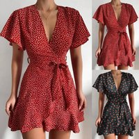 Women Fashion Printed V-neck Dress Ruffled Belt Wrapped Mini Casual Party Summer Short Sleeve Loose Dresses