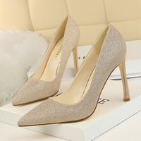 Dress Shoes Fashion Sequined Cloth Shallow 2021 Concise Nubuck Leather Women Pumps Pointed Toe High Heels Women's Shoe