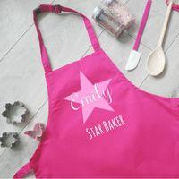 Personalisierte Kindersternbäcker-Schürze, Fertigen Sie mit dem Namen reizende Schürze, Kinder anpassen, kocht lustige Geschenke, Mini-Chef-Mädchen-Rosa-Schürzen