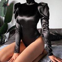 Frauen Overalls Strampler Oriental Genießen Sie schwarze Rollkragenkörper Körper Slim Body Strampler Langarm Reißverschluss Deco Sexy Bodysuits Frauen Kleidung 2