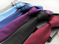 Silk Classic Skinny 6cm Men Neck Ties Casual Wear Business Wedding Party Solid Neckties for Men dff3388