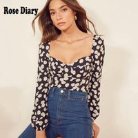 RoseDiary 2021 Fashion Chic Daisy Flower Floral Vintage Blouse Blusa Female Shirts Sexy Retro Sweetheart Neckline Tops Women's Blouses &