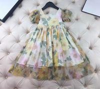 2021 Nuova neonata Bambina carina estate bambini ragazze vestito con abiti da principessa manica corta Ragazze vestito per bambini Bel vestito