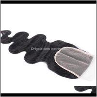 Kapanışlar Uzantıları Ürünler Bırak Teslimat 2021 Şeffaf 4 * 4 Hint Vücut Dalga İnsan Saç HD İsviçre Dantel Üst Kapatma Parçası Doğal Renk 8-20