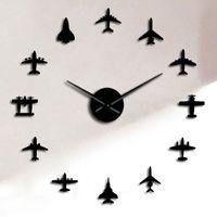 Flying Plane Fighter Jet Moderno Reloj de pared grande DIY Acrílico Espejo Efecto Etiqueta Vista Avión Silent Wall Clock Aviator Decoración del hogar 1384 V2