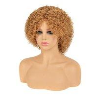 Siyo человеческие парики для волос для чернокожих женщин вьющиеся вьющиеся бразильские реми Полный парик короткий парик с челкой Джерри скручивая белокурая красная косплей парик