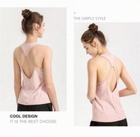 Lu yoga Vest with Chest Cushion T-Shirt Spring Lu Gym Tops Outdoor Clothes Fitness Suit Tanks Sports