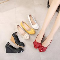 Dress Shoes Tilocow Wedges Platform Woman Genuine Leather Women's Pumps High Heels Shallow Mary Jane Casual Slip-On Female
