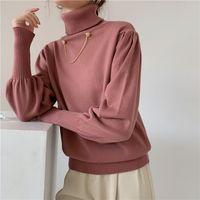 Autumn Winter Oversize Korean Elegant Women's Sweaters Pullover Solid Turtleneck Lantern Sleeve Lady Tops 210513