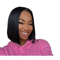 Malaysian 4X4 Straight Lace Frontal wigs Nature color Short Bob straight human hair wigs 8-14 inch Human Hair Lace Frontal Wigs Pre plucked