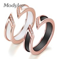 Modyle White Ceramic Ring With One Row Australia Zircon Channel Setting Rose-gold Metal Wedding Open Rings for Women