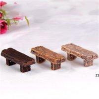 3 unids lindo silla de madera heces jardín de hadas miniaturas decoración pareja banco acción figurilla diy micro gnomo terrario regalo HWD7349