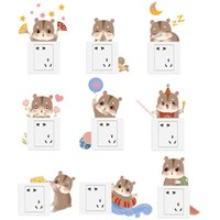 Wall Stickers Funny Animals Patterns Switch For Kids Room Home Decoration 3D Decals Diy Cartoon Hamster Mural Art
