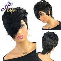 Wigs The Cut Life Short Wave Bob Pixie Full Machine Made Non Lace Human Hair Wigs With Pony For Black Women Remy Brazilian