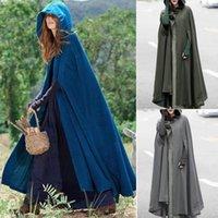 Women's Trench Coats Fashion Women Winter Warm Long Cloak Hooded Cape Coat Poncho Shawl Parka Outdoor Clothes