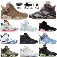 Kutu ile 2021 Nike Air Jordan Retro 6 İNGİLİZ KHAKI Jumpman 6 6s Erkek Kadın Basketbol Ayakkabıları Carmine Tech Chrome Travis Scott Eğitmenler Spor Sneakers