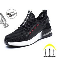 Lightweight Men's Safety Shoes Work Boots Steel Toe Safety Boots Anti-smashing Outdoor Sneakers Ryder Breathable Work Sneakers