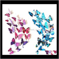 Stickers Décor Garden Drop Delivery 2021 12Pcs 3D Wall Pvc Simulation Stereoscopic Butterfly Mural Sticker Fridge Magnet Art Decal Kid Room H